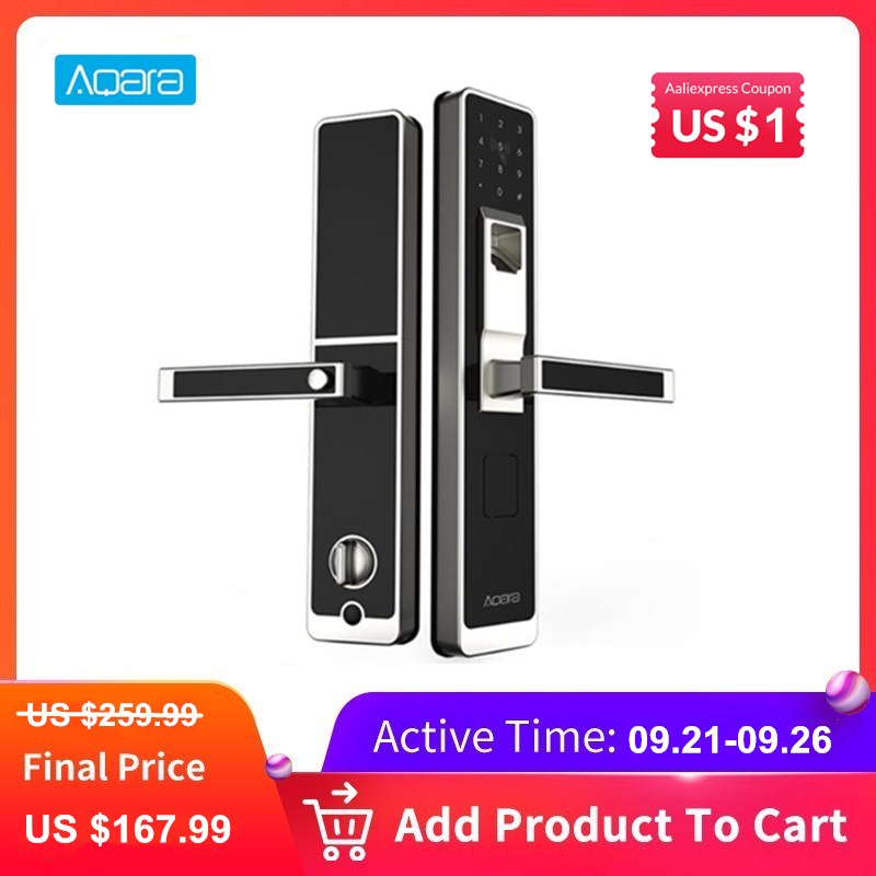 Aqara Smart Door Touch Lock ZigBee Connection WiFi Fingerprint Password Unlock For Home Security Anti-Peeping Design