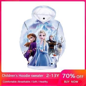 New Spring Autumn Elsa Anna Kids Baby Boys Girls Toddlers 3D Printing Hoodies Cartoon Tracksuit Children Clothing Sweatshirts 1