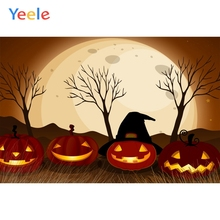 Yeele Halloween Photocall Moon Pumpkin Lantern Tree Photography Backdrops Personalized Photographic Backgrounds For Photo Studio цена 2017