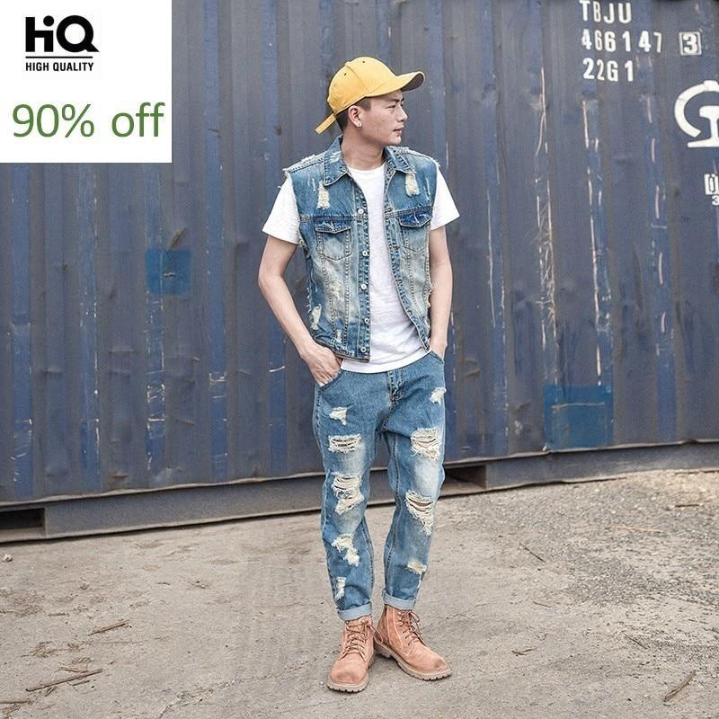 Detachable Rompers Mens Jumpsuit Summer Fashion Denim Overalls Ripped Hole Ankle Length Pants Men Jeans Vest Casual Light Blue
