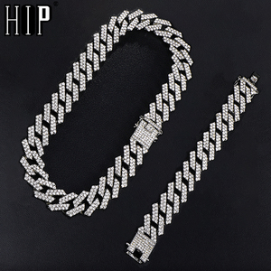 Hip Hop 1kit 20MM Silver Color Heavy Full Iced Out Paved Rhinestones Prong Cuban Chain CZ Bling Choker Necklaces For Men Jewelry