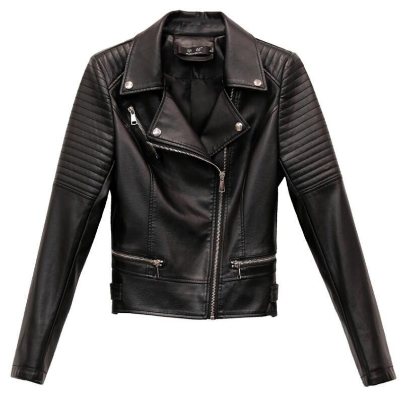 Plus Size Women's   Leather   Jacket 2019 New Spring Black Female   Leather   Clothing Short Slim Motorcycle Women   Leather   Coat Red