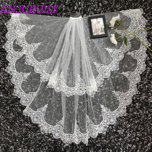 Image 5 - 2020 New Two Layer Ivory Tulle Wedding Veil Lace Edge Cheap Short Bride Velo Elbow Length Wedding Accessories Boda Velo de Novia