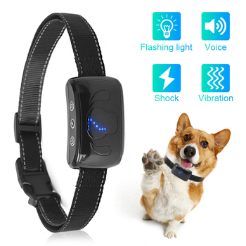 Dog Anti Bark Collar Waterproof With Beeps And Vibration Electric Shock Anti Barking No Bark Training Collar Chargeable