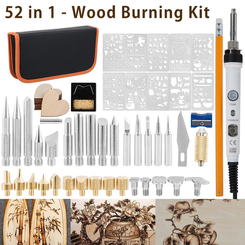 Wood Burning Kit Carving Pyrography Pen Kit 60W Adjustable Temperature Soldering Iron Welding Wood Embossing Burning 110 220V