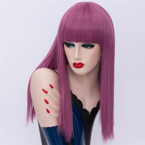 Image 4 - MSIWIGS Long Straight Cosplay Green Wigs Synthetic Wig for Women Purple Hair with Cut Bangs