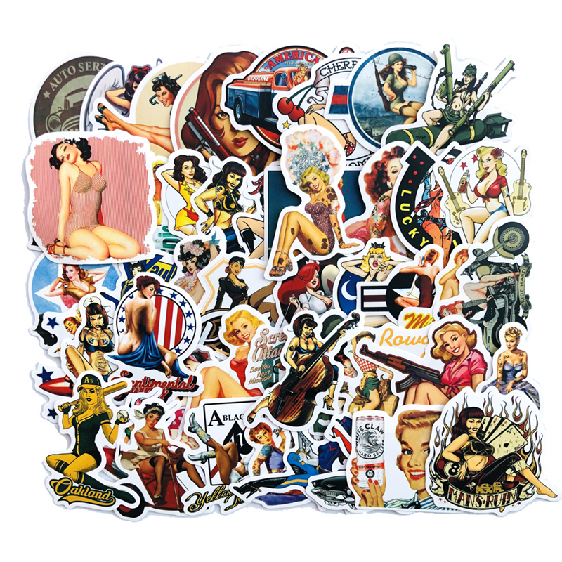 50Pcs Retro War Sexy Beauty Girls Stickers For Laptop Car Scrapbooking Motorcycle Phone Luggage Decal Toys For Children PVC Gift