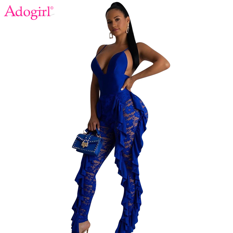 Adogirl Solid Blue Ruffle Lace Jumpsuit Women Sexy V Neck Spaghetti Straps Backless Skinny Romper Night Club Party Bodysuits