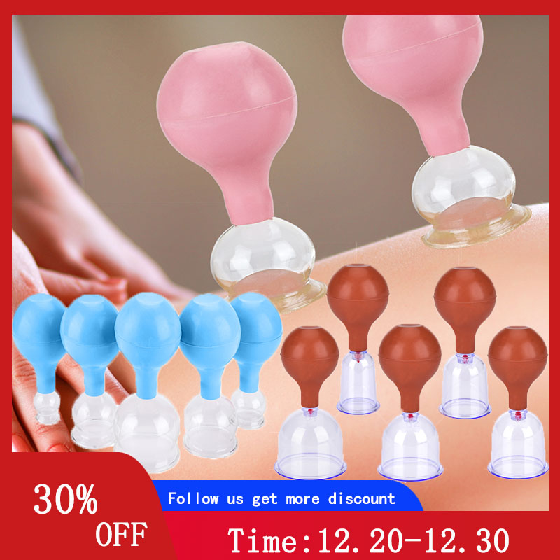 Rubber Head Glass Vacuum Cupping Cups Family Medical Vacuum Cans Suction Therapy Device Back Body Massage Health Care Tools