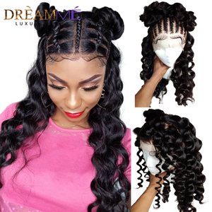 13X6 Lace Front Human Hair Wigs For Women Natural Black Curly Lace Front Wig Preplucked Deep Part Frontal Wigs Remy 150% Density(China)