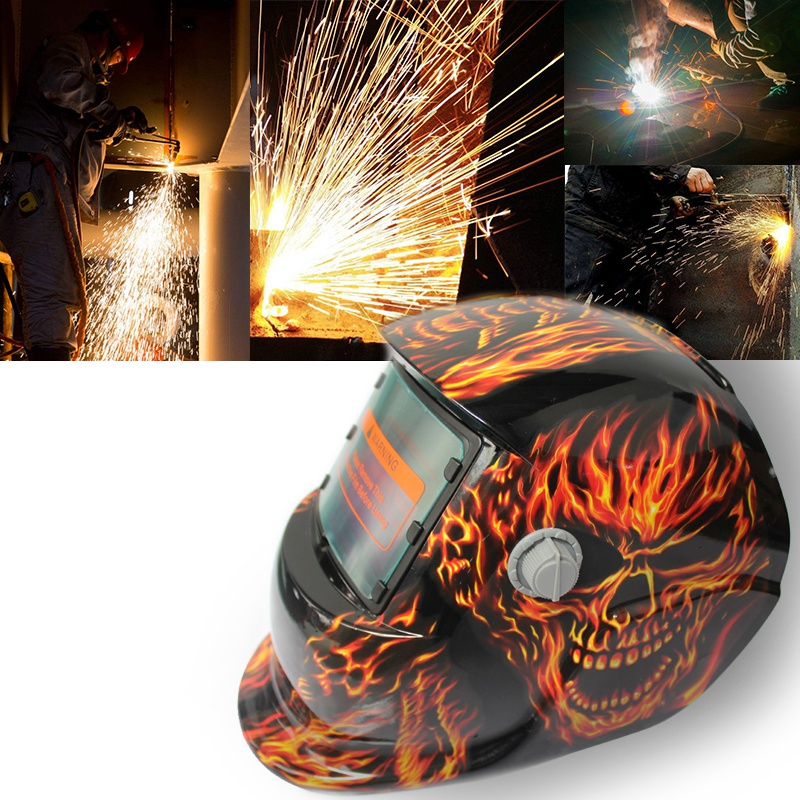 2018 New Pro Solar Welder Mask Auto-Darkening Welding Helmet Fiery Red Skull