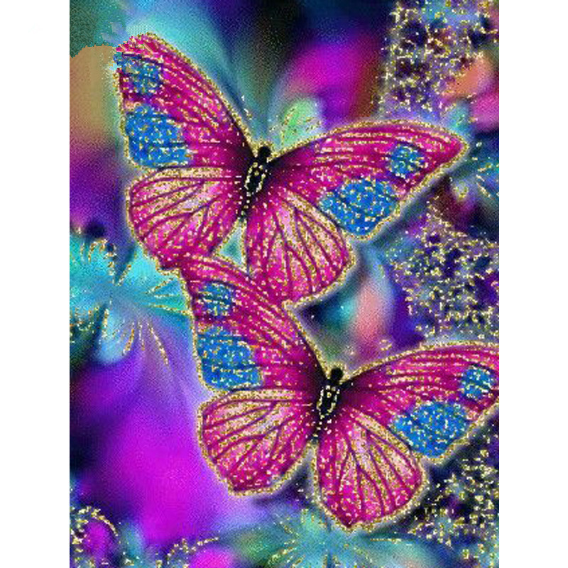 DIY 5D Diamond Painting Two Coloured Butterfly Cartoon Animal Embroidery Hand