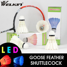 Super LED Badminton Shuttlecock Ball Goose Feather Glow in Night Colorful Lighting Balls Outdoor Entertainment Sports Ball 4PCS