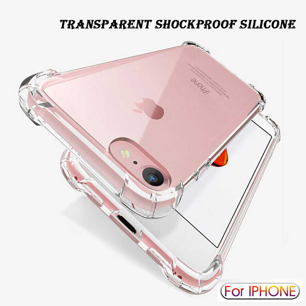 Luksusowe, odporne na wstrząsy przezroczyste silikonowe etui do iPhone 11 Pro Max XR X XS miękka obudowa telefonu dla iphone 6 7 8 Plus 12 tylna okładka