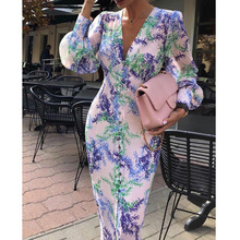 2019 Vintage Print Women Sexy Deep V Neck Puff Sleeve Bodycon Dress Open Buttons Slit Long Pencil Dress Ladies Dresses