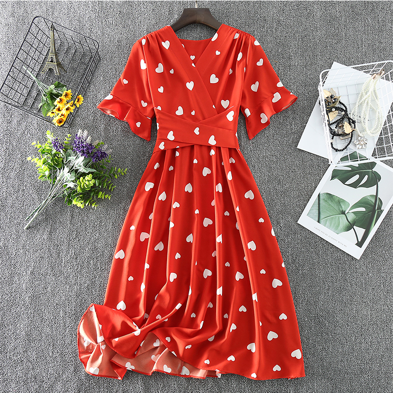 Tea Length Chiffon Red Dress