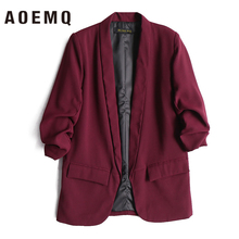 AOEMQ Women Fall Jackets Deep Color with Pocket Coats Lady Office Wear Open Stit