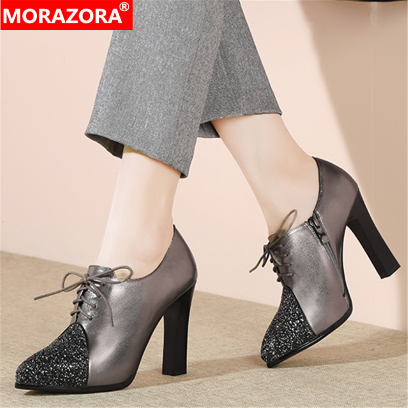 MORAZORA 2020 New Arrival Fashion Women Pumps Genuine Leather Spring High Heels Shoes Thick Heels Pointed Toe Ladies Shoes