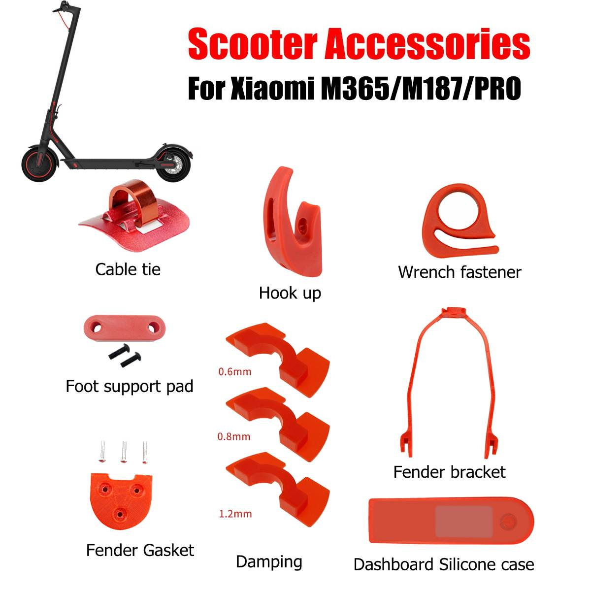 for Xiaomi M365 Pro Accessories Electric Scooter Fender Bracket Dashboard Cover Shock Absorb Pads Front Hook
