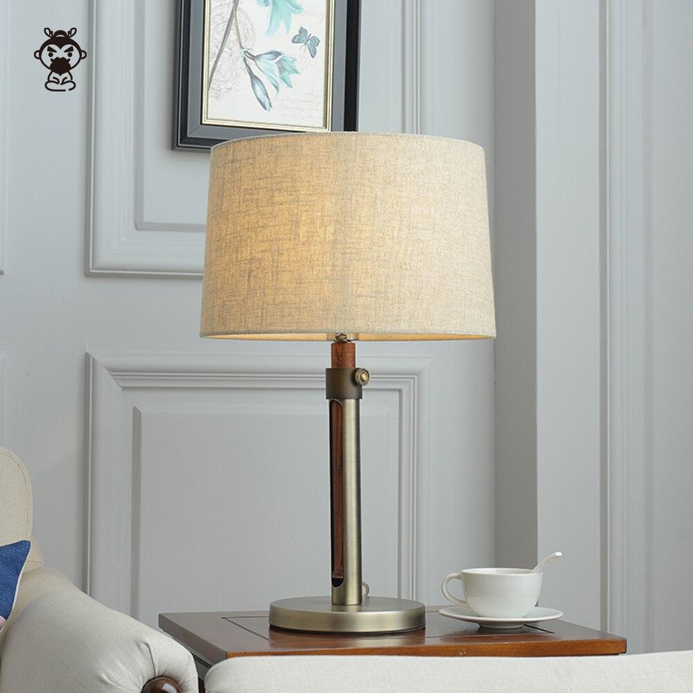 Твердая древесина ореха USB Абажур Настольная Лампа Приспособление скандинавский японский минималистичный стиль настольная лампа Luminaria для