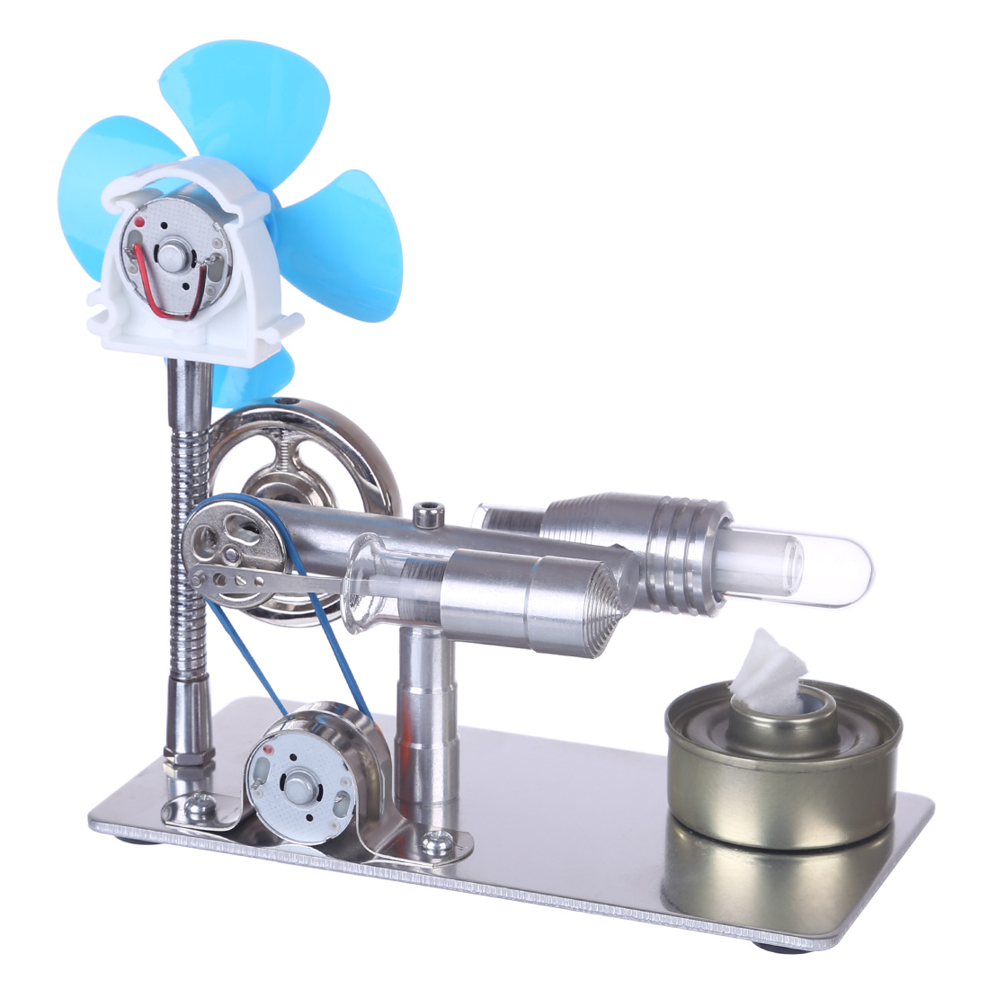 Surwish 1 Set Single Cylinder Stirling Engine Model With Bulb And Fan With High Quality 2020 DIY Science Gifts-Random Bulb Color