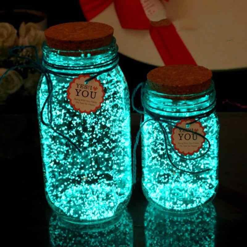 10g Luminoso Partito FAI DA TE Luminoso Glow in the Dark Vernice star Bottiglia Che Desiderano Particelle Fluorescenti Regalo Della Decorazione (Blu verde)