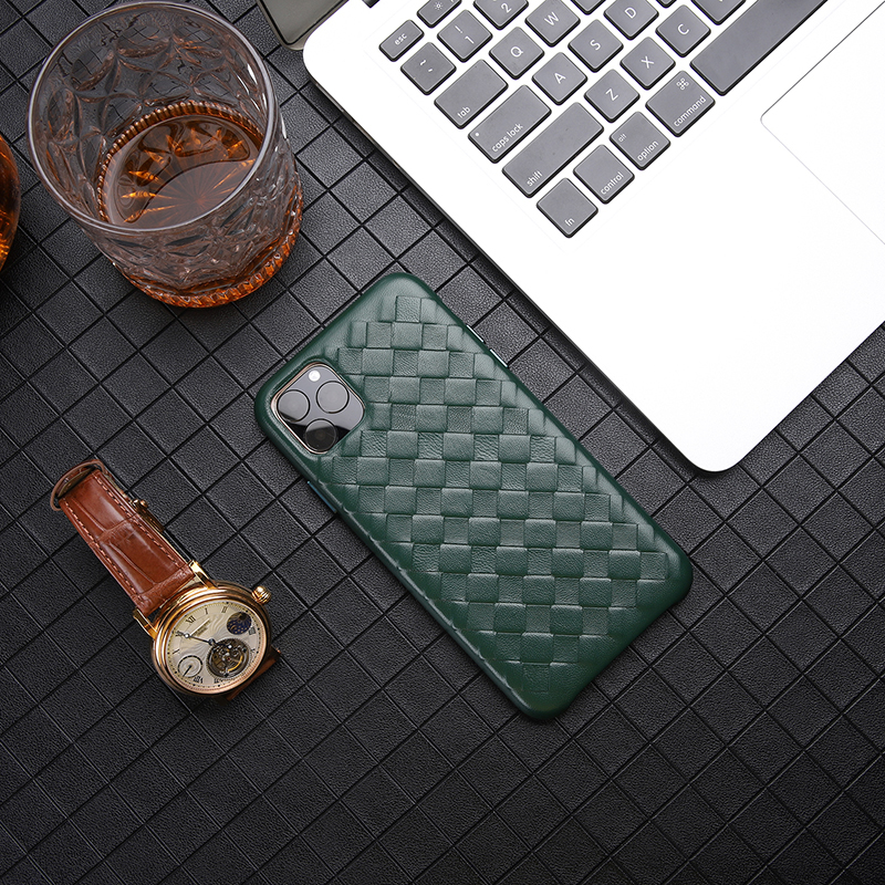 Image 5 - Fashion Woven Pattern Genuine Leather Case For iPhone XS MAX/ XS/ X/ XR Original Phone Cover For iPhone 11 Pro XS MAX Back CaseFitted Cases   -