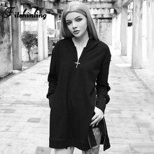 Fitshinling Cross Zipper Gothic Hoody Dress With Sashes Autumn Harajuku Black Short Hooded Dresses For Women Dark Vestido Sale