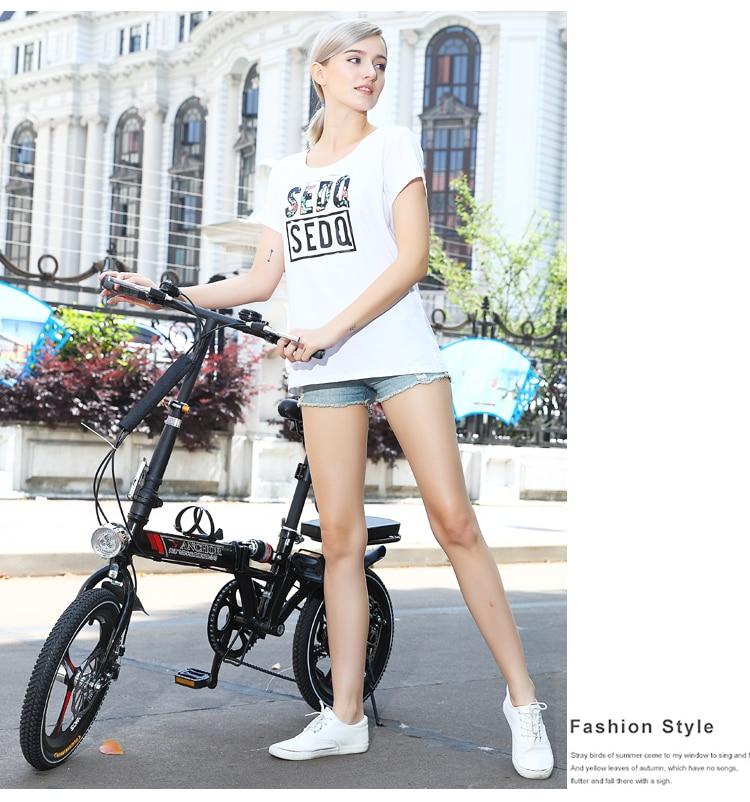 New 14/16/20 Inch Wheel Carbon Steel Frame 6 Speed Women's Folding Bike Children Bicycle Outdoor BMX Soft-Tail Bicicleta
