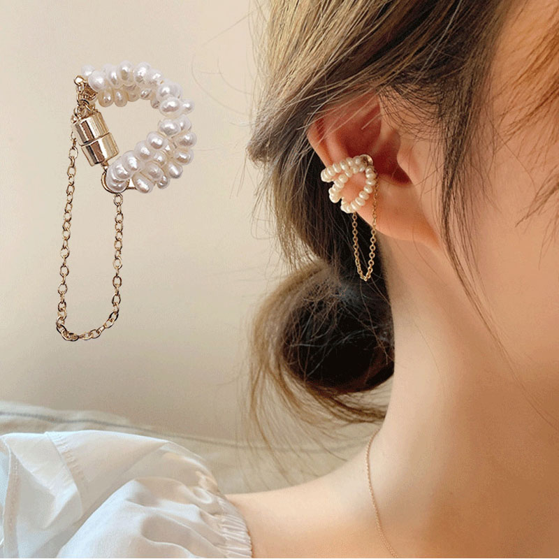 Freshwater Pearl Clip Earrings Non Piercing Strong Magnet Magnetic womens Ear Cuff Clips for Women Girls Fake Piercing Jewelry