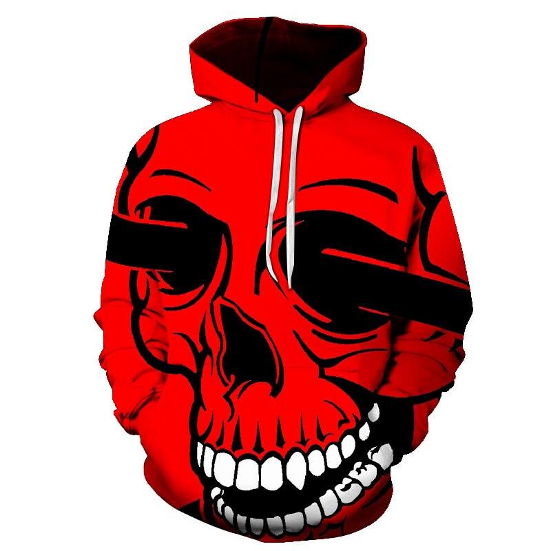 New 3D Printed Hoodies Sweatshirt Men's Red Black Skull Print Hoodie S-6XL Casual Hoodies Fashion Men Women Street Wear Tops