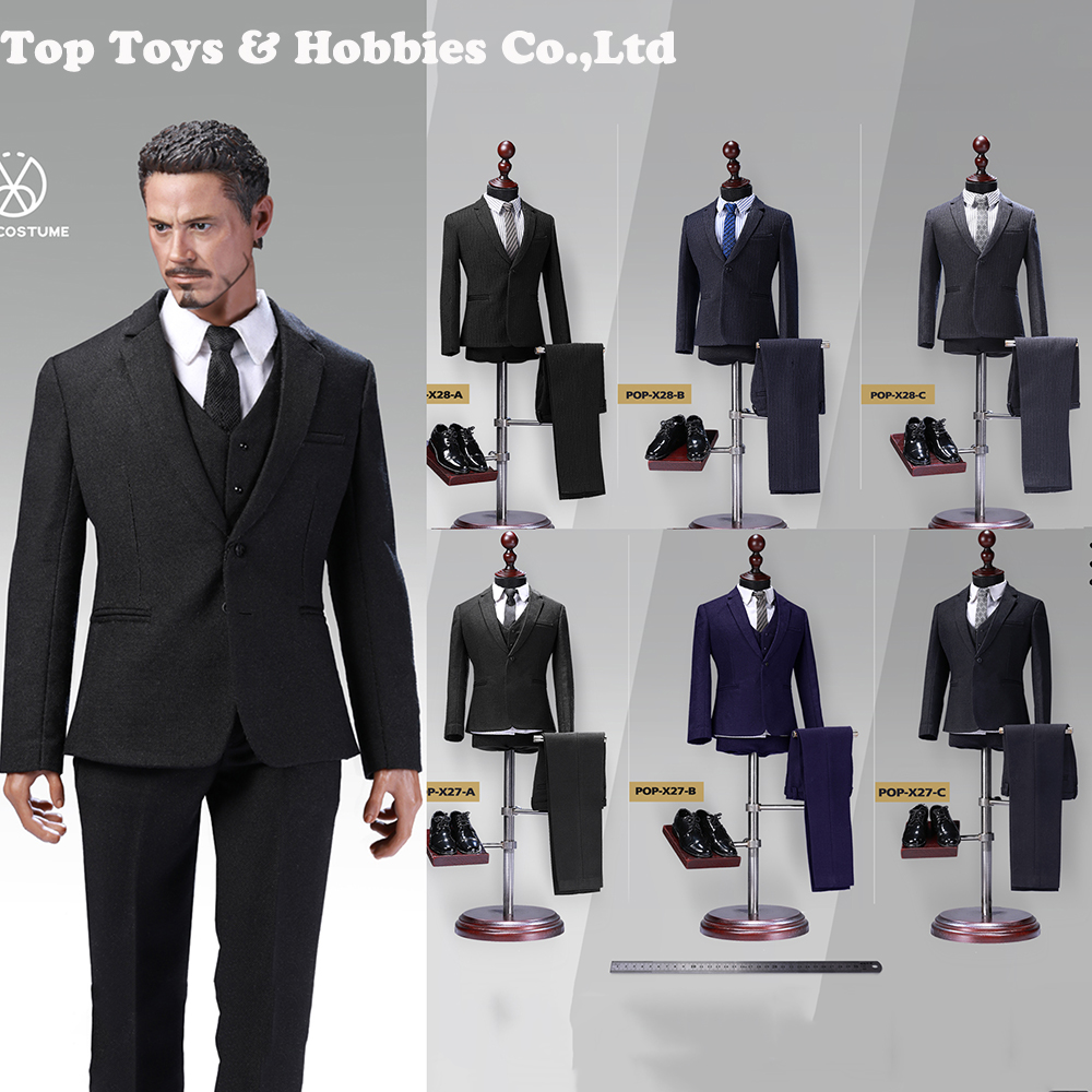"1/6 Scale Gentleman Suit Set POPTOYS X28 X27 Advanced Readymade Male Western-style Clothes Suit Adjustment 12"" Male Figure"