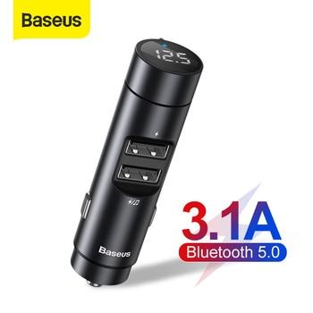 Baseus Car FM Transmitter Modulator Bluetooth 5.0 Car Kit With 3.1A Dual USB Charger Auto Audio MP3 Player Car FM Transmiter