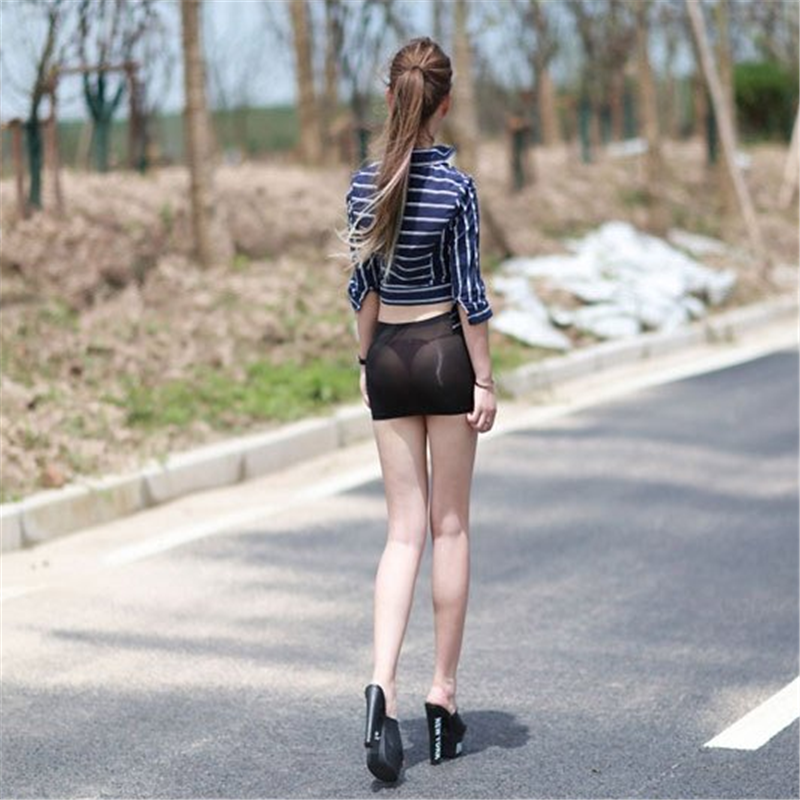 Hot Sexy Women Tight Stretch Short Skirt See Through Solid Night Club Party Wear  Package Short Mini Hip Skirt Black Red