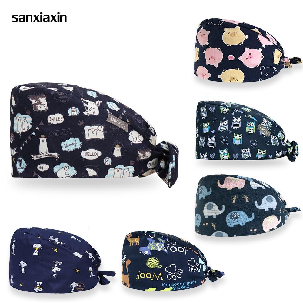 Sanxiaxin 2020 Veterinarian Surgical Caps Medical Scrub Caps For Women Men Hospital OR Doctor Nurse Work Hat Dentist Skull Hats