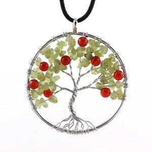 100-уникаль, 1 шт., натуральный камень перидот, дерево жизни, чакра, подвеска, кожаная цепь, ожерелье, подвеска, ювелирных изделий