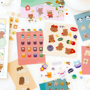 Mohamm 1Pcs Lovely Cartoon Cute Cross-Dressing Bear Series Decoration PVC Sticker Creative Stationary School Supplies