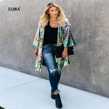 2020 Colorful Sequins Patchwork Open Stitch Femme Jacket Hot