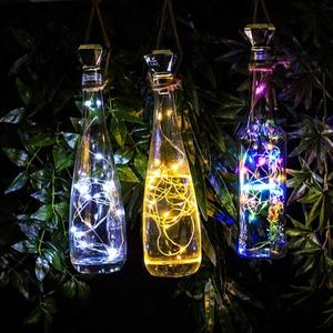 Комплект из 8 шт. тряпок в форме винной бутылки на солнечной батарее светильники-пробка, 2 м 20 светодиодов Медный провод Фея гирлянды светодиодные огни на Рождество Свадебная вечеринка Арт Декор Светильник