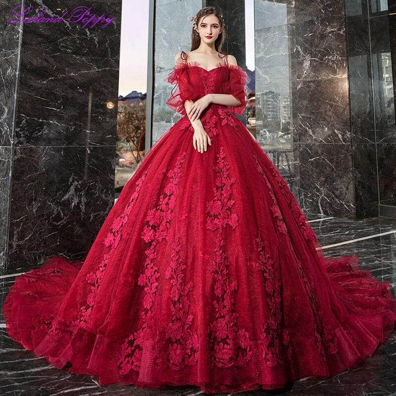 Vestido de Noiva femmes robe de bal robe de mariée rouge 2019 épaules nues manches bouffantes cathédrale Train dentelle Appliques robe de mariée