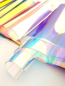 Laser Iridescent Holographic Film Clear Transparent PVC Fabric Laser Rainbow Shiny Vinyl Material Bow Craft Bag