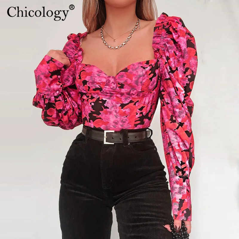 Chicology floral print long lantern sleeve T shirt women casual crop top tshirt 219 autumn winter female sexy aesthetic clothes