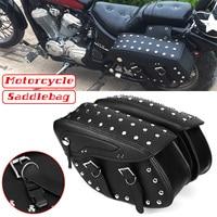 Pair Motorcycle PU Leather Saddlebag Side Bags Tool Luggage Storage Bags For Honda/Yamaha/Suzuki