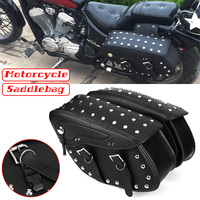 Pair Motorcycle PU Leather Saddlebag Side Bags Tool Luggage Storage Bags For Honda/Yamaha/Suzuki