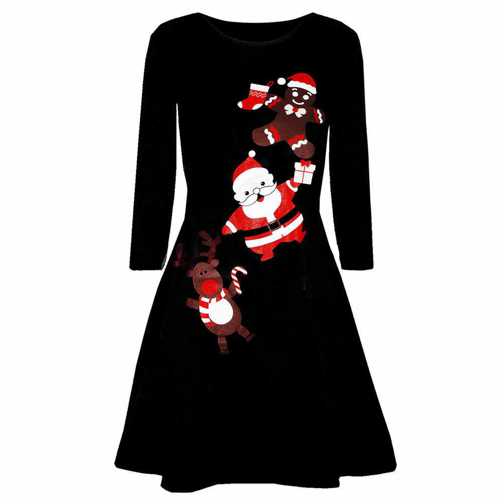 Casual Christmas Dress Print Long Sleeve Autumn Winter Party Dress Vintage Women Knee-Length Dress Vestidos Robe 2019