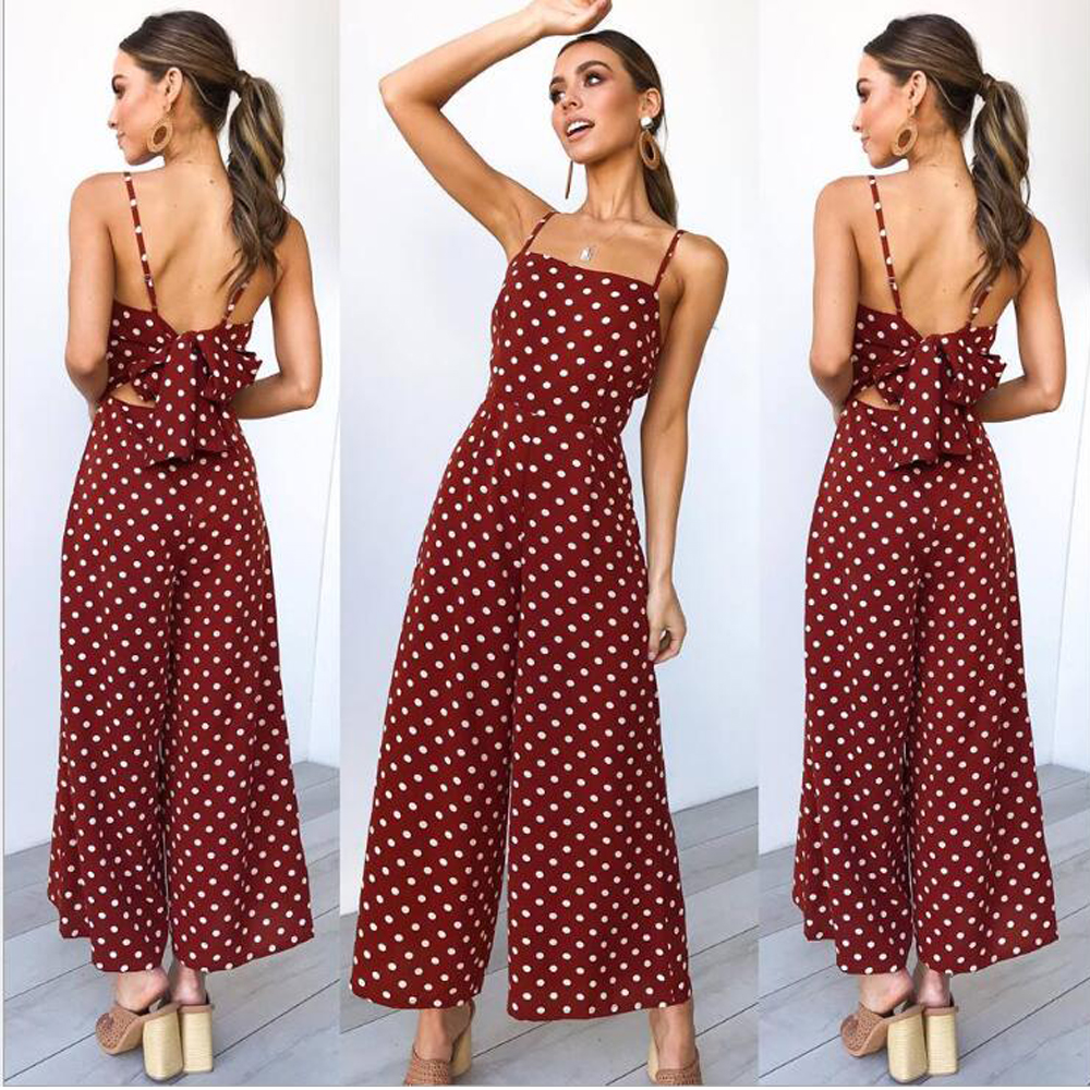 Sleeveless Backless Boho Bow-knot Dot Jumpsuits Women 2020 Summer Romper Strap Beach Club Elegant Jumpsuit Overalls
