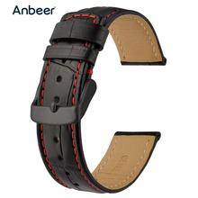 Anbeer Leather Watchband 18mm 20mm 22mm Alligator Embossed Watch Strap Men Women Bracelet Strap Dress Style for Smartwatch