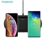 Fdgao 20W Dual Qi Draadloze Oplader Voor Iphone 11 Pro Xs Max Xr X Samsung S20 S10 Desktop Snelle draadloos Opladen Pad Dock Station-in Opladers voor mobiele telefoons van Mobiele telefoons & telecommunicatie op
