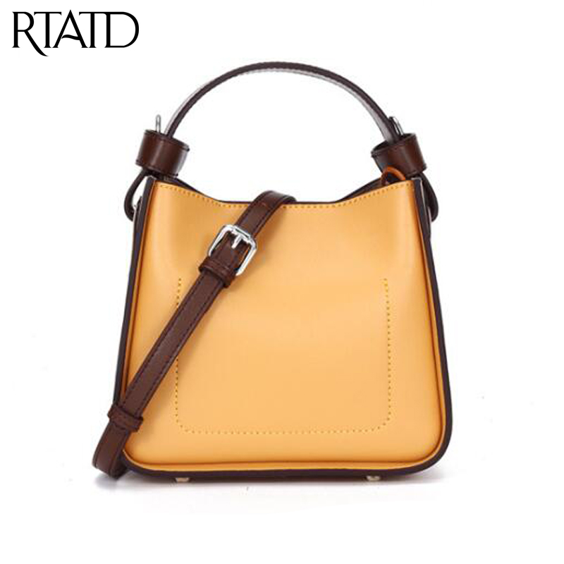 Genuine Leather Patchwork Women Tote Lady Fashion Simple Design Messenger Bags Super High Quality Girls Shoulder Handbag