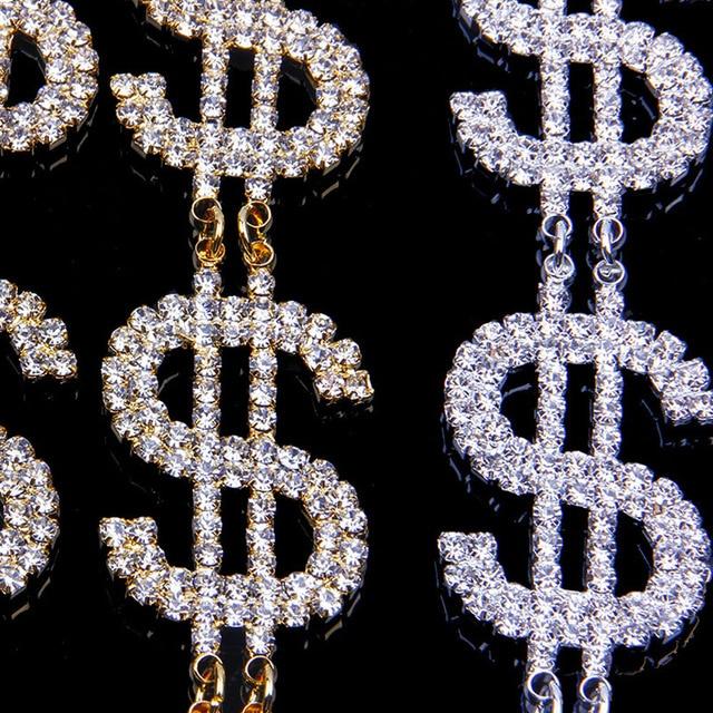 Dollar Signs Crystal Earrings 5